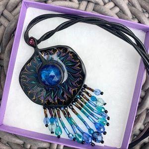 Chico's Blue & Purple Painted Pendant Necklace